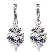cheap -Women's Heart Crystal Cubic Zirconia Crystal Zircon Silver Plated Drop Earrings - Formal Elegant Fashion Heart For Party / Evening Office