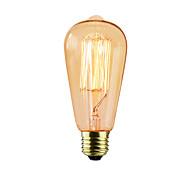 baratos -1pç 25W E26/E27 ST64 2300 K Incandescente Vintage Edison Light Bulb AC 220V AC 220-240V V