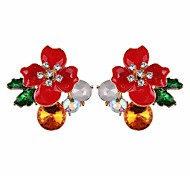 cheap -Women's Floral Crystal Stud Earrings Hoop Earrings - Floral Elegant Fashion Flower For Daily Prom