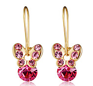 cheap -Women's Ball / Butterfly Crystal / Cubic Zirconia Crystal / Zircon / Gold Plated Drop Earrings - Formal / Elegant / Fashion Fuchsia