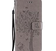 Недорогие -Кейс для Назначение Motorola C plus C Бумажник для карт Кошелек со стендом Флип С узором Чехол Кот дерево Твердый Кожа PU для Moto Z