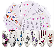 Недорогие -50 Наклейки и ленты Наклейка для переноса воды Наклейка для ногтей Цветы Наклейки для ногтей Наклейки Советы для ногтей Дизайн ногтей