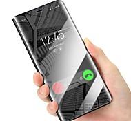 Недорогие -Кейс для Назначение Apple iPhone X со стендом Зеркальная поверхность Флип Чехол Сплошной цвет Твердый Кожа PU для iPhone X iPhone 8 Pluss