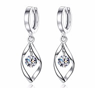cheap -Women's Leaf Cubic Zirconia Drop Earrings - Basic Fashion Silver Leaf Earrings For Daily Ceremony