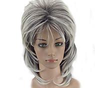 Недорогие -Парики из искусственных волос Кудрявый Стрижка каскад плотность Без шапочки-основы Жен. Серый Парик из натуральных волос Средняя длина