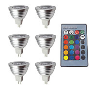 cheap -6pcs 3W 280lm MR16 LED Spotlight 1 LED Beads Dimmable Decorative Remote-Controlled RGB 12V