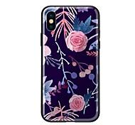 Недорогие -Кейс для Назначение Apple iPhone X iPhone 8 С узором Кейс на заднюю панель Цветы Твердый Закаленное стекло для iPhone X iPhone 8 Pluss