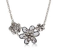 preiswerte -Damen Kubikzirkonia Statement Ketten - Zirkon Blumen / Botanik, Blume Rockig Silber 40 cm Modische Halsketten Für Party, Bar