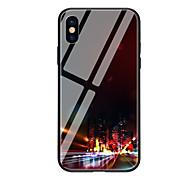 Недорогие -Кейс для Назначение Apple iPhone X iPhone 8 С узором Кейс на заднюю панель Вид на город Твердый Закаленное стекло для iPhone X iPhone 8