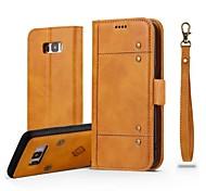 Недорогие -Кейс для Назначение SSamsung Galaxy S8 Plus S8 Бумажник для карт Кошелек Флип Магнитный Чехол Однотонный Твердый Настоящая кожа для S8