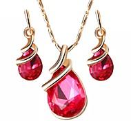 abordables -Mujer Cristal Conjunto de joyas - Cristal Austriaco Gota Simple Incluir Morado / Rojo / Azul Para Fiesta / Diario / Pendientes