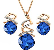 cheap -Women's Austria Crystal Jewelry Set 1 Necklace / Earrings - Formal / Simple Geometric Purple / Red / Blue Jewelry Set For Party / Daily