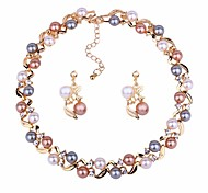 cheap -Women's Rhinestone / Imitation Pearl Ball Jewelry Set 1 Necklace / Earrings - Classic / Fashion Gold / Silver Jewelry Set / Drop Earrings