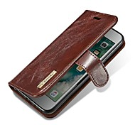 cheap -Case For Apple iPhone X iPhone 8 Card Holder Flip Magnetic Full Body Cases Solid Colored Hard Genuine Leather for iPhone X iPhone 8 Plus