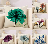 cheap -6 pcs Cotton/Linen Pillow Case Novelty Pillow Pillow Cover, Floral Simple Floral Print Artistic Style Abstract