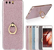 cheap -Case For Huawei P9 Huawei P9 Lite Huawei P8 Huawei Huawei P9 Plus Huawei P8 Lite Ring Holder Back Cover Glitter Shine Soft TPU for P10