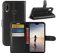 abordables -Funda Para Huawei P20 lite P20 Soporte de Coche Cartera con Soporte Flip Funda de Cuerpo Entero Un Color Dura Cuero de PU para Huawei P20