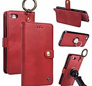 Недорогие -Кейс для Назначение Apple iPhone X iPhone 8 Бумажник для карт Кошелек Кольца-держатели Флип Магнитный Чехол Однотонный Твердый Настоящая