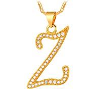 abordables -Hombre Zirconia Cúbica Collares con colgantes  -  Forma de Alfabeto, Letra Moda Dorado, Plata 55 cm Gargantillas Para Regalo, Diario