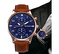 cheap -Men's Quartz Dress Watch Chinese Chronograph Leather Band Minimalist / Fashion Black / Blue / Brown