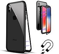 Недорогие -Кейс для Назначение Apple iPhone 8 / iPhone 8 Plus Флип / Прозрачный Чехол Однотонный Твердый Закаленное стекло для iPhone X / iPhone 8