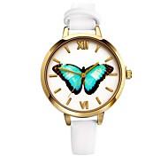 Недорогие -Жен. Кварцевый Наручные часы Повседневные часы Кожа Группа Бабочка Мода Черный Белый