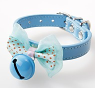 cheap -Dogs / Cats / Pets Collar Adjustable / Retractable / Bowknot / With Bell Solid Colored / Polka Dot PU Leather Blue / Pink / Khaki