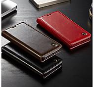 Недорогие -Кейс для Назначение Huawei P20 / P20 Pro Кошелек / Бумажник для карт / Флип Чехол Однотонный Твердый Настоящая кожа для Huawei P20 / Huawei P20 Pro / Huawei P9 Lite