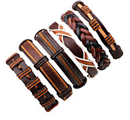 Недорогие -Муж. Кожаные браслеты - Кожа Мода Браслеты Коричневый Назначение Для сцены / Для улицы