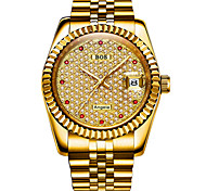 cheap -Angela Bos Men's Mechanical Watch Japanese Automatic self-winding Stainless Steel Silver / Gold 30 m Water Resistant / Waterproof Calendar / date / day Casual Watch Analog Casual Fashion - Gold Silver