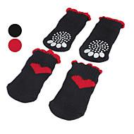 Pies Skarpetki Codzienne Zatrzymujący ciepło Serca Black Czerwony Dla zwierząt domowych