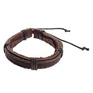 billige -Herre Charm-armbånd Læder Armbånd Læder Unikt design Mode Armbånd Smykker Grå / Brun Til Julegaver Sport