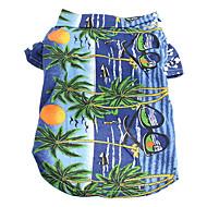 ネコ 犬 Tシャツ 犬用ウェア 花 / 植物 イエロー ブルー 虹色 コットン コスチューム 用途 夏 男性用 女性用 ホリデー ファッション