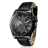 preiswerte -Herrn Quartz Armbanduhr Armbanduhren für den Alltag PU Band Charme Kleideruhr Schwarz