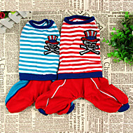 Dog Jumpsuit Dog Clothes Cotton Spring/Fall Winter Casual/Daily Stripe Red Blue For Pets