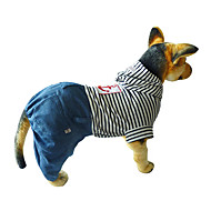 Dog Jumpsuit Dog Clothes Cotton Winter Spring/Fall Casual/Daily Stripe Red Blue Costume For Pets