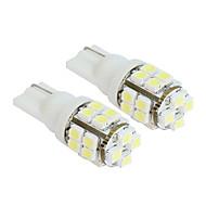 2 stk 20-SMD T10 12V hvit lys LED utskifting pærer