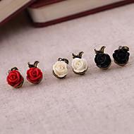 Недорогие $0.99 Модное ювелирное украшение-Жен. Серьги-гвоздики - Розы, Цветы Белый / Черный / Красный Назначение Для вечеринок / Повседневные