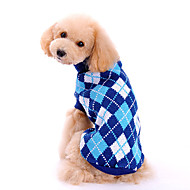 Dog Sweater Dog Clothes Woolen Winter Spring/Fall Classic Fashion Plaid/Check Blue Costume For Pets