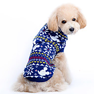 Dog Sweater Dog Clothes Woolen Winter Spring/Fall Cute Christmas Snowflake Blue Costume For Pets