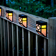 2-LED Warm Yellow Solar Powered Wall Mount Lantern Light Deck Lamp