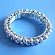 Ezüst arany gyöngyök szalvétagyűrű készlet 12, akril, Dia 4,5 cm-es