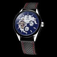 رخيصةأون -رجالي ساعة الهيكل مراقبة الطيران داخل الساعة أتوماتيك سيليكون أسود مقاوم للماء نقش جوفاء مماثل أبيض أسود
