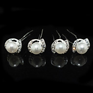 Žene Umjetno drago kamenje Legura Imitacija Pearl Glava-Vjenčanje Special Occasion Pin kose 4 komada