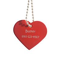 voordelige Gepersonaliseerde prints & cadeaus-Gepersonaliseerde Gift Heart Shape Rode Pet Id Name Tag met ketting voor honden
