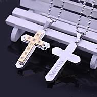 baratos -Aço inoxidável presente personalizado Zircon Cruz em forma de colar de pingente gravado jóias (Dentro de 10 caracteres)