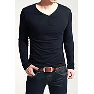 Masculino Camiseta Cor Solida Manga Comprida Casual / Esporte-Preto / Marrom / Branco / Cinza
