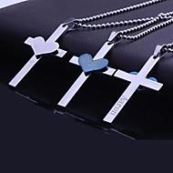 baratos -Presente personalizado aço inoxidável Coração Bíblia Cruz Gravado pingente de colar com 60 centímetros Cadeia