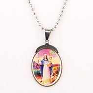 Personalizado Padrão Silver Gift Christian Colar Gravado