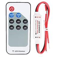 halpa RGB-ohjaimet-r107 mini-yksivärinen LED-himmennin, jossa rf-kauko-ohjain, punainen ja musta kaapelilinja (dc5-24v 60-288w 12a)